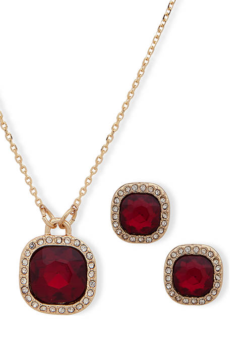 Gold Tone Red Crystal Cushion Boxed Necklace and Earrings Set
