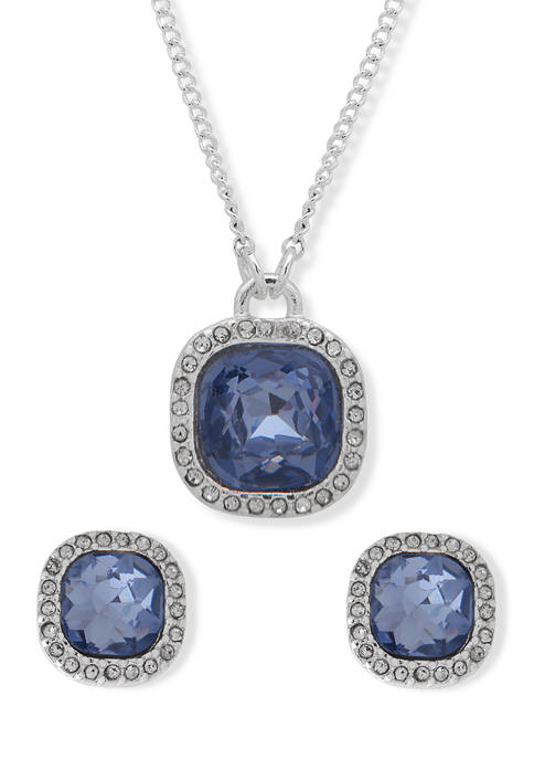 Silver Tone Blue Cushion Boxed Necklace and Earrings Set