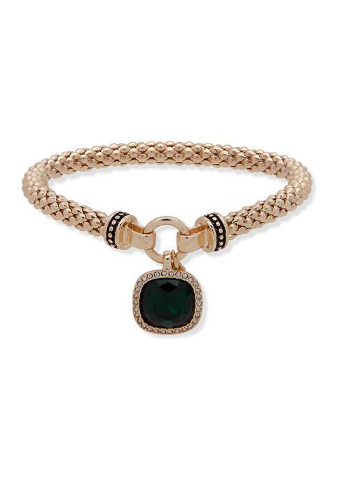 Gold Tone Green Stretch Boxed Bracelet