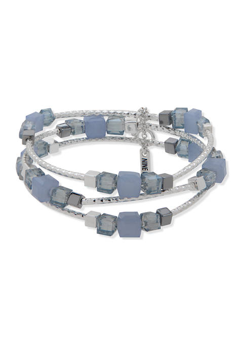 Silver Tone Blue 3 Set Bead Stretch Bracelet