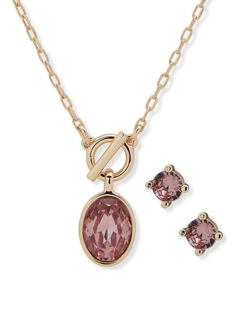 Nine West Gold Tone Pink Crystal Swarovski® 16