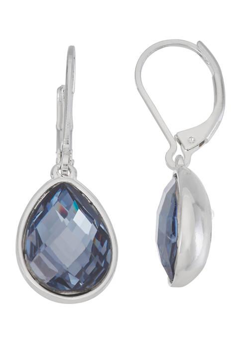 Nine West Silver Tone Denim Crystal Stone Drop
