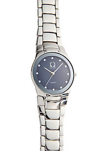 Silver Link Watch with Blue Dial