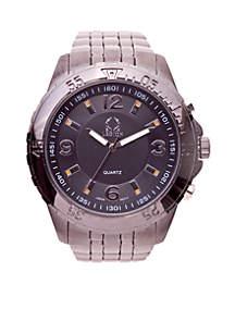 Round Gunmetal Link Watch