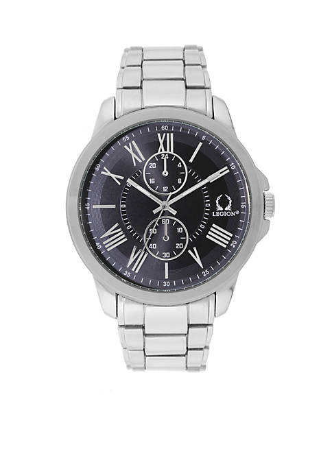 Legion Mens Chrono Silver Black Dial Watch
