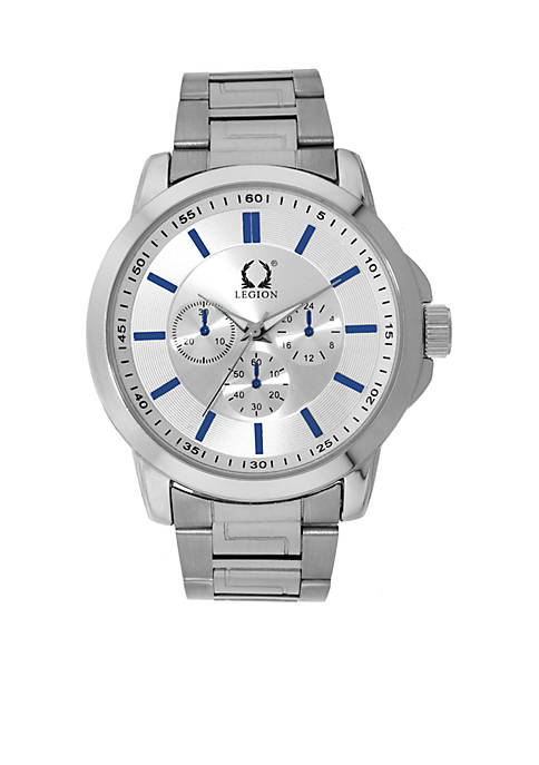 Legion Chronograh Silver Bracelet Watch With Blue Accents