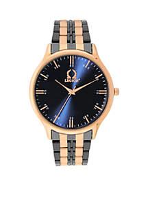 Men's Two-Tone Rose Gunmetal Blue Dial Bracelet Watch