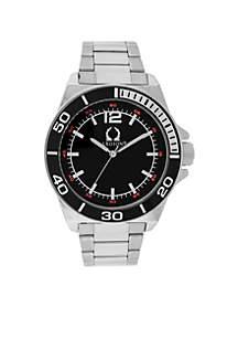 Legion Men's Silver-Tone Black Dial Bracelet Watch