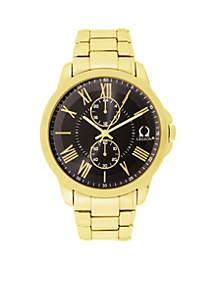 Men's Gold-Tone Gunmetal Dial Watch