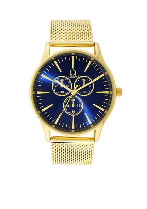 Legion Mens Gold-Tone Mesh Watch