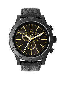 Chronograph Black Out Watch With Gold Accents