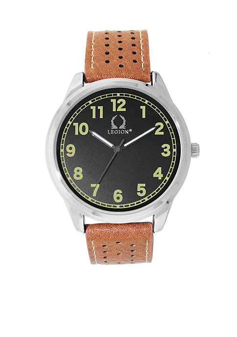Cognac Perferated Strap Three Hand Watch