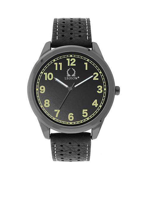 Black Perforated Strap Three Hand Watch