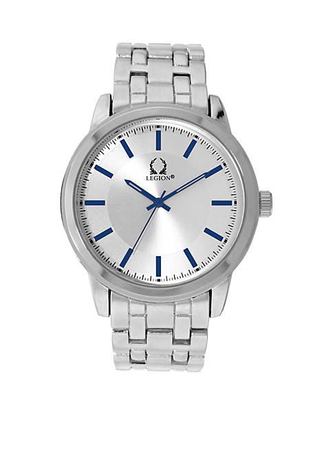 Legion Silver Bracelet Blue Accents Watch