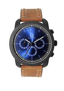 Silicone Cognac Strap Blue Dial Watch