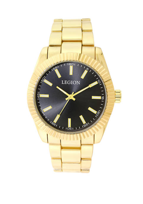 Mens Gold Tone Bracelet Watch with Dark Dial