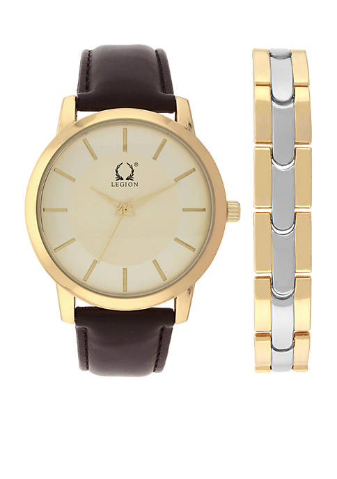 Legion Gold-Tone Brown Strap and Two-Tone Bracelet Watch