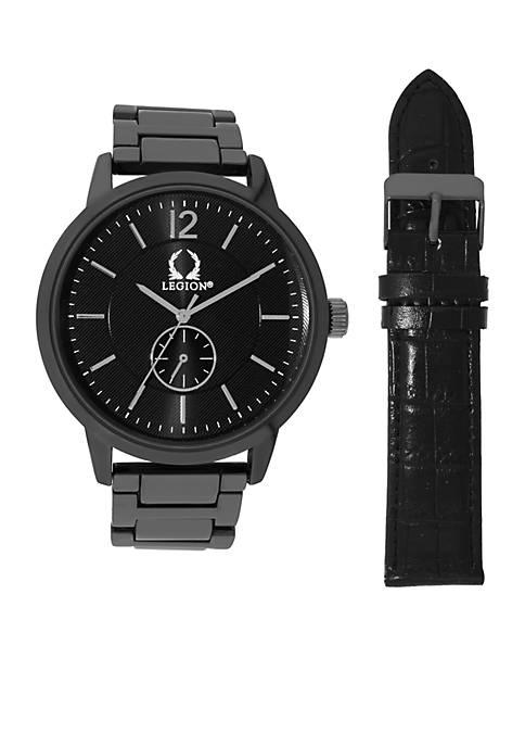 Hematite-Tone Black Croco Watch Set