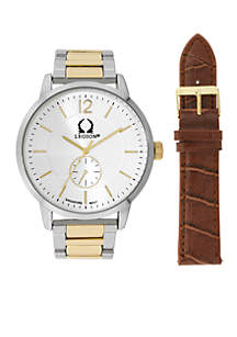Men's Two-Tone Bracelet and Brown Leather Watch Set