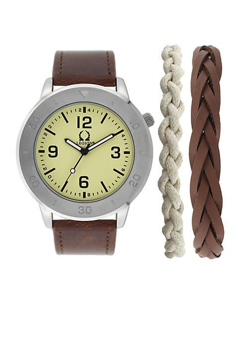 Legion Silver-Tone Bracelet and Sporty Watch Set