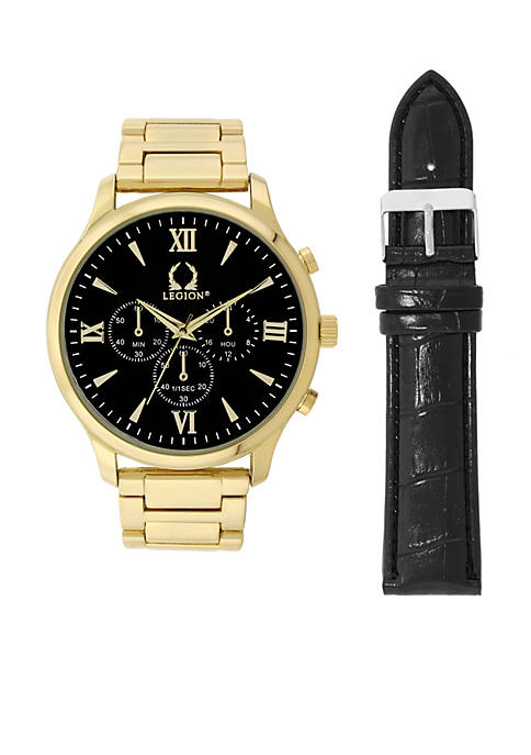 Mens Gold-Tone Chronograph Watch and Black Croco Leather Set