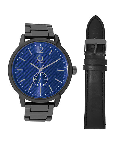 Legion Mens Hematite-Tone Watch and Black Leather Strap