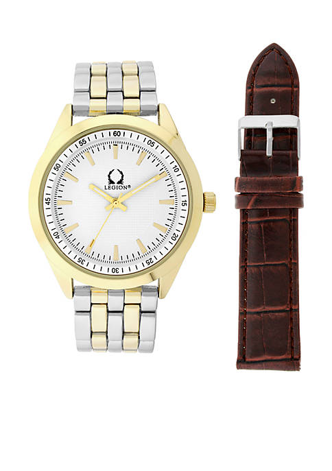 Legion Two-Tone Watch and Brown Croco Leather Strap