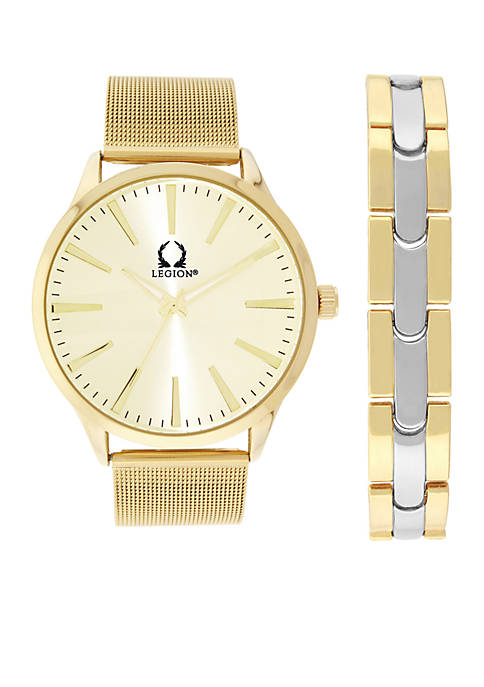 Legion Gold-Tone Mesh Watch and Two-Tone Bracelet Strap