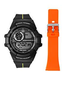 Black Sport Watch and Orange Silicone Strap Set