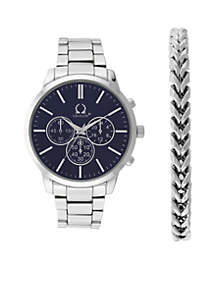 Silver-Tone Chronograph Link Bracelet Watch Set