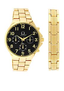 Gold-Tone Chronograph Watch Bracelet Set