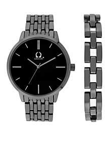 3-Hand Watch With Gunmetal Link Bracelet Set