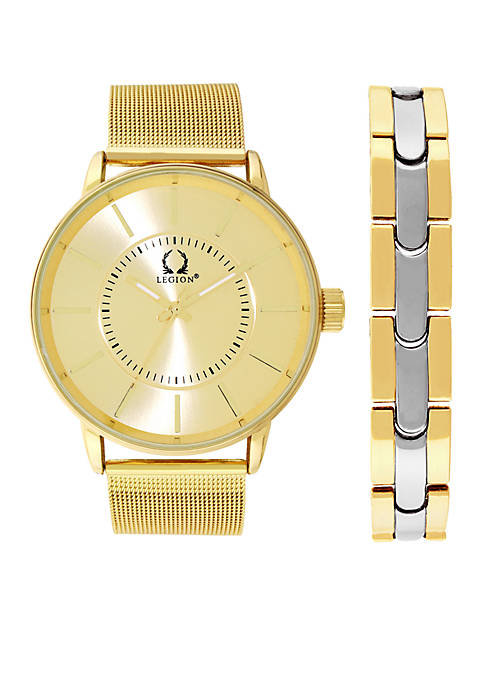 Legion Gold-Tone Three Hand Mesh Watch With Two-Tone