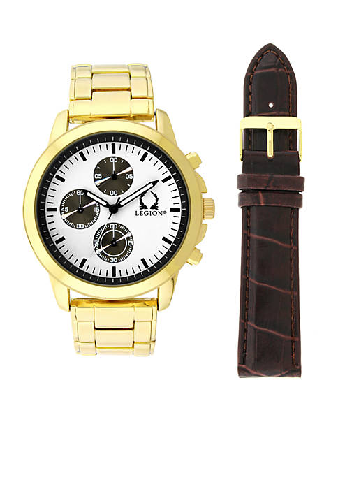 Legion Gold Chronograph White Dial Watch With Brown