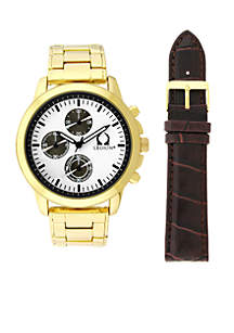 Gold Chronograph White Dial Watch With Brown Croco Strap