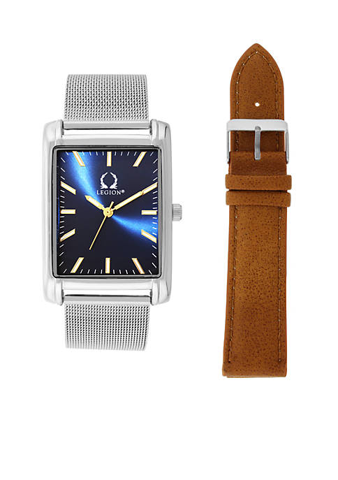 Legion Silver-Tone Rectangular Face Blue Dial Watch with
