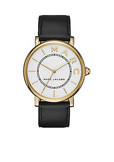 Marc Jacobs Women's Roxy Gold-Tone over Stainless Steel & Black Leather Three-Hand Watch