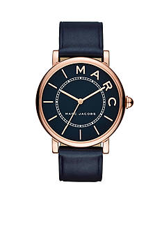 Marc Jacobs Women's Roxy Rose Gold-Tone and Navy Leather Three-Hand Watch