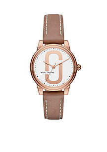 Women's Rose Gold-Tone Corie Brown Leather Three-Hand Watch