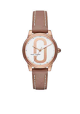f9c4f825708e Marc by Marc Jacobs Women s Rose Gold-Tone Corie Brown Leather Three-Hand  Watch ...