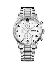BOSS by Hugo Boss Men's Aeroliner White Dial Stainless Steel Watch