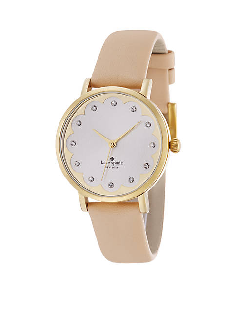 kate spade new york® Womens Beige Metro Watch