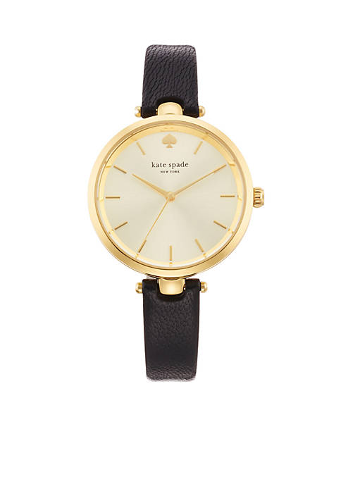 Womens Gold-Tone Stainless Steel Black Leather Three-Hand Holland Watch