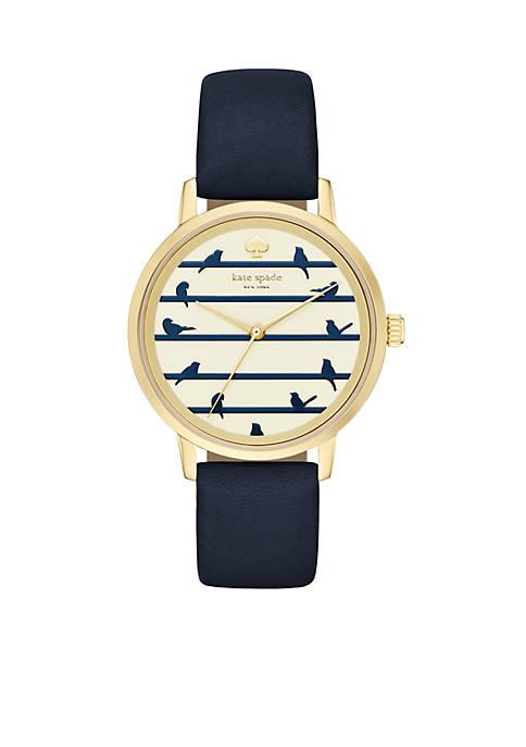 Metro Blue Leather Three-Hand Watch