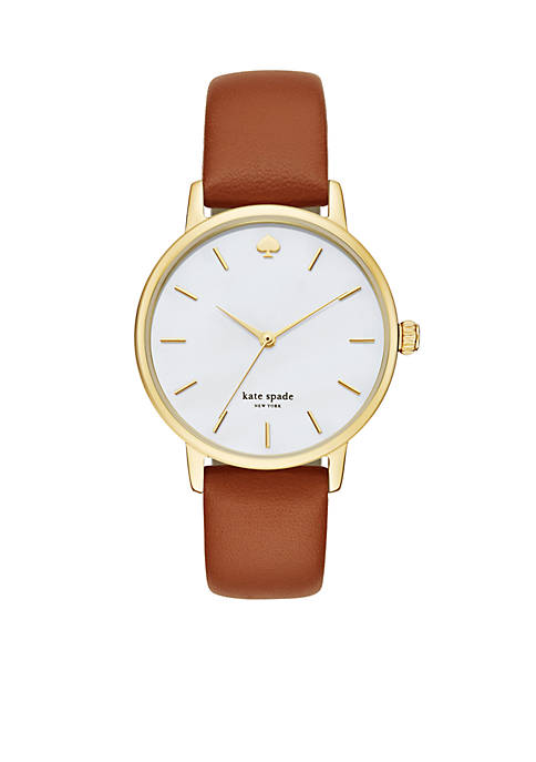 Womens Metro Cognac Gold-Tone Watch
