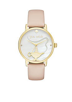 kate spade new york® Gold-Tone and Vachetta Leather Metro Watch
