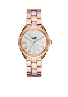 kate spade new york® rose gold-tone and blush pink acetate crosstown watch