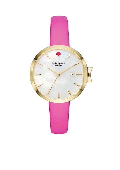 Womens Pink Leather Park Row Watch
