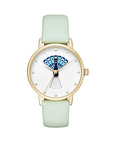 kate spade new york® Gold-Tone and Mint Splash Leather Metro Watch
