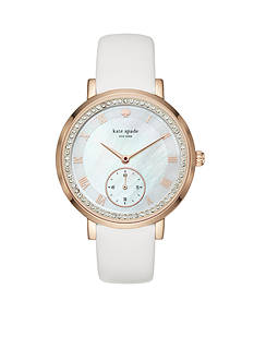 kate spade new york® rose gold-tone and white leather monterey watch